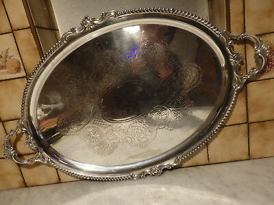 "Vintage  Silver Plate Ornate Oval Large Food/drinks Serving Tray 29""x19"