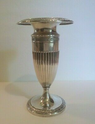 "Vintage LA PIERRE Sterling Silver 8.5"" Vase, Embossed Design, Weighted Base"
