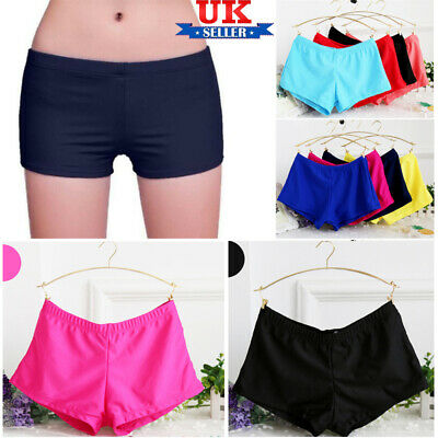 Womens Ladies Plain Swim Shorts Bikini Swimwear Boy Style Short Tankini Sizes UK