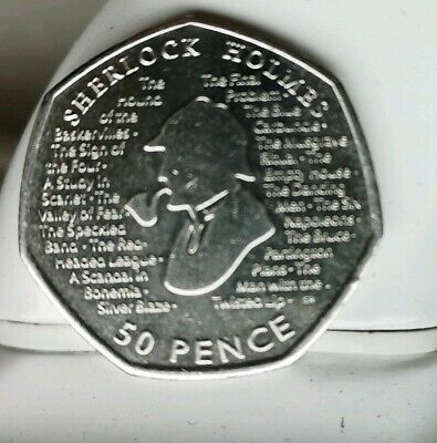 ( RARE COLLECTABLE )New Sherlock Holmes 2019 50p Fifty Pence Coin