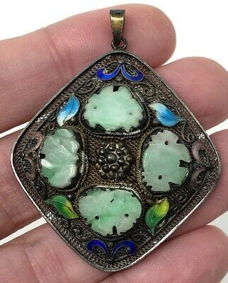 Unusual Rare Vintage CHINESE EXPORT SILVER  Carved JADE Enamel Pendant