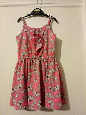 Matalan Girls Pink Strappy + Butterfly Summer Dress Age 3 Years