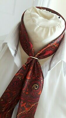 Vintage Skinny Slashed Paisley Scarf With Gold Ring/Cravat 60S Dandy/Tootal