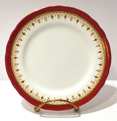 Set of 4 - Durham Maroon Scalloped Bread and Butter Plates by Aynsley - Elegant!