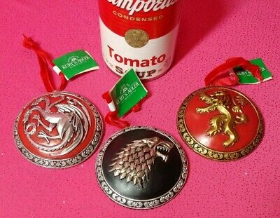 "Set Of 3 Kurt Adler 3"" Game Of Thrones ""Sigils"" Holiday Ornaments New With Tag"