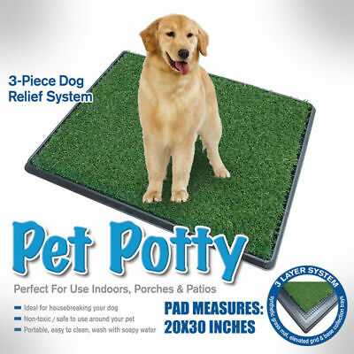 Pet Potty Tray Indoor/Outdoor Dog Grass Pad Training Toilet Wee Loo Urine Large