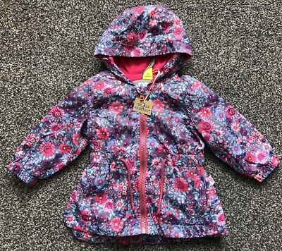 Baby Girls Floral Jacket Coat Rain Mac Pink Purple 3 to 6 Month Mothercare NEW