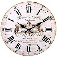 Vintage Antique Shabby Chic French Style Chateau De Guilleroi 34cm Wall Clock