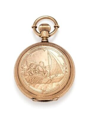 Victorian Era Lady of Lyons 14K Gold Pocket Watch Fancy Scenic Decorated Case