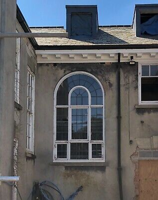 Large Reclaimed Leaded Window With Arch Top