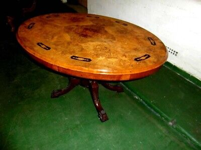 Superb Victorian Oval Inlaid Walnut Tip Top Breakfast Table