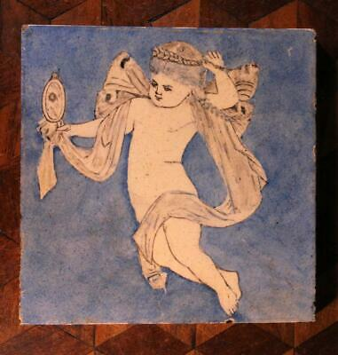 ANTIQUE Hand Painted Cherub Putti Blue Minton China Works Victorian Tile Old J.W