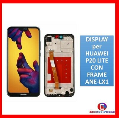 TOUCH SCREEN + LCD DISPLAY + FRAME ASSEMBLATI Per HUAWEI P20 LITE NERO ANE-LX1