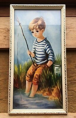 Vintage Big Eye Dallas Simpson Picture/1950's/60's/Retro/Kitsch/Boy Fishing