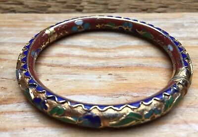 Vintage Enamel Red & Multi Coloured Floral Bangle/Cloisonné? Bracelet/Retro