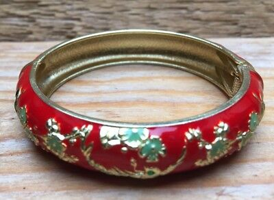 Vintage Enamel Red & Green  Flower Bangle/Cloisonné? Bracelet/Hinged/Retro Look