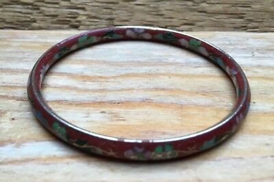 Vintage Enamel Red & Multi Coloured Floral Bangle/Cloisonné? Bracelet/Retro Look