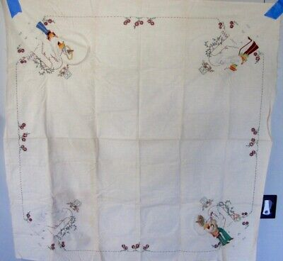 Vintage UNFINISHED Tablecloth Mexican Motif Stamped for Embroidery