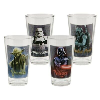 Star Wars 4 pc 16oz Pint Glass Set Darth Vader Storm troopers Yoda Official