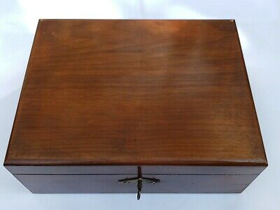 19th C. Antique Mahogany and Brass Letter Writing Slope Box Original Key