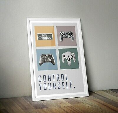 """Gaming Print/ Poster """"Control Yourself""""  Playstation xbox Nintendo Gamer Gifts"""
