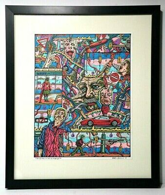 Original 1970's Painting Marker and Ink On Paper Signed Framed Psychedelic art