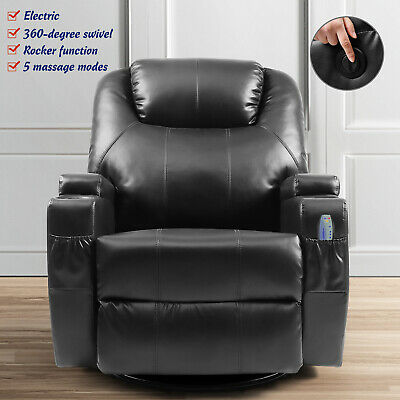 Electric Massage Recliner Sofa 360 degree Swivel Leather Chair Rocker Function