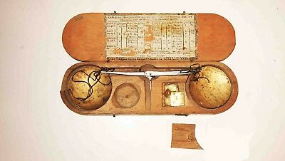 c1800-1830 FRENCH Wood Cased Hanging Gold & Silver PAN SCALE w/ Weights