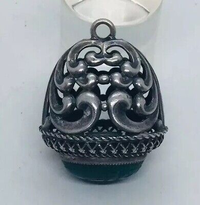 Antique Art Nouveau Sterling Silver & Chalcedony Scarab Fob Pendant