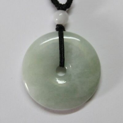 Gemstone Natural Genuine Jade Grade A Light Green Jadeite Circle Donut Pendant