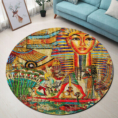 Ancient Egyptian Pharaoh Vintage Background Area Rug Living Room Round Floor Mat