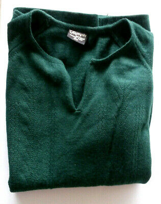 "Vintage ~ ""Olympic"" ~ Pure Merino Wool Bottle Green Short Sleeve V Neck Knit ~ M"