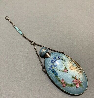 Antique Sterling Silver Enamel Guilloche Victorian Perfume Bottle Estate Fresh
