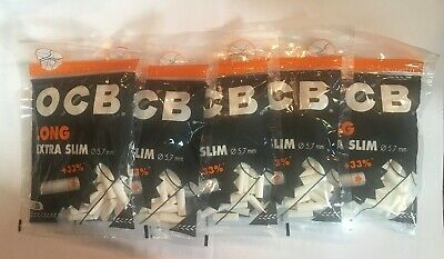 OCB LONG Extra Slim Organic Cigarette Filter tips 5x120 - total 600 filters