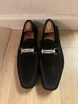 c6072910feb6a Gucci Black Suede With Bamboo Horsebit Driving Loafers Size 11 Made In Italy
