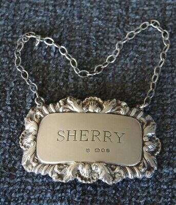 Solid Silver Sherry Bottle Label Hallmarked London 1973 Shell Decoration #18