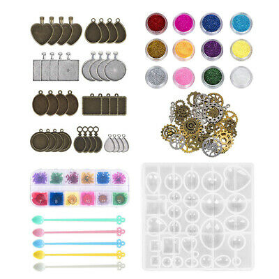 75x DIY Resin Casting Molds Silicone Moulds Pendant Trays Jewelry Making Craft.
