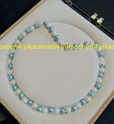 Natural 8mm Light Blue White South Sea Shell Pearl Round beads Necklace 18''