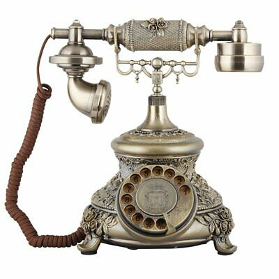 Vintage Rotary Dial Phone Antique Gold Bronze Telephone Retro Collectors Gifts