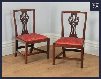 Antique Pair Two Georgian Chippendale Mahogany Office Desk Dining Chairs c.1800