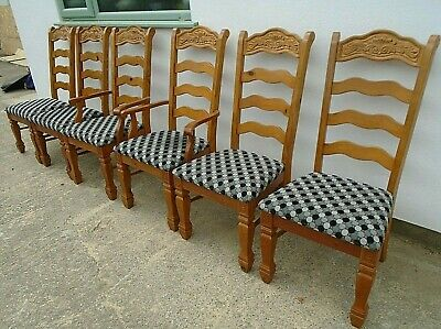 Set of 6 Carved Pine Ladder Back Upholstered Kitchen Dining Chairs 4 + 2 carvers