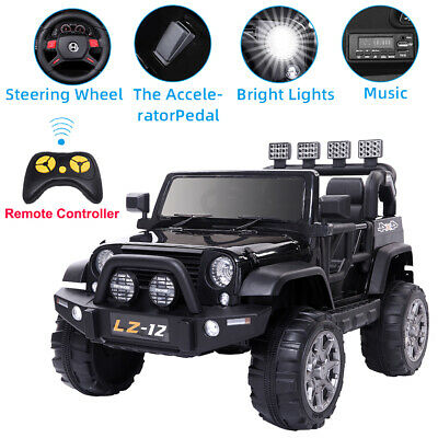 Black 12V Powered Kids Ride On Car Toys Jeep 3 Speed 4 Wheel with Remote Control