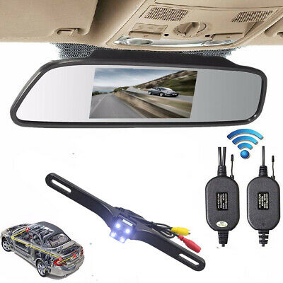 "Car Rear View 5"" LCD Monitor Mirror + Wireless Backup Camera Parking Reverse Kit"