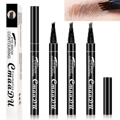 3D Microblading Tattoo Eyebrow Pencil Ink Fork Tip Pen Eye Brow Women Cosmetic