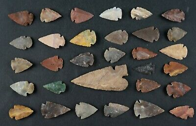 "31 PC Flint Arrowhead Ohio Collection Points 1-3"" Spear Bow Stone Hunting 1522"