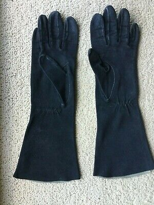 Gloves Black Vintage Immaculate Long Suede Small Size Vgc 1 Family Owned