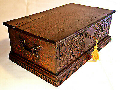 Early 18th Oak Century Bible Box with original Iron work & functioning Key
