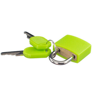 Small 22mm Padlock with Two Keys for Luggage Suitcase Bag Safety Tool Green