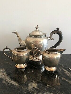 Vintage Heavy Ornate Trio Tea Pot Milk & Sugar English silver plated