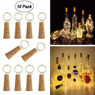 10pcs 2M 20 LED Wine Bottle Fairy String Light Cork Starry Lamp Xmas Party LOT